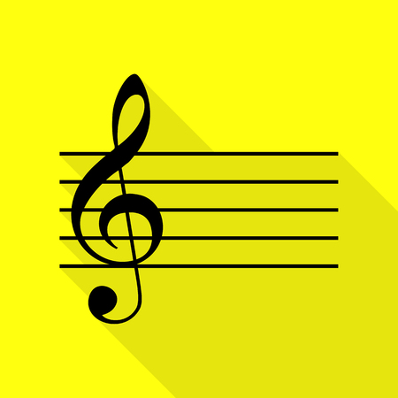 g clef: Music violin clef sign. G-clef. Black icon with flat style shadow path on yellow background.