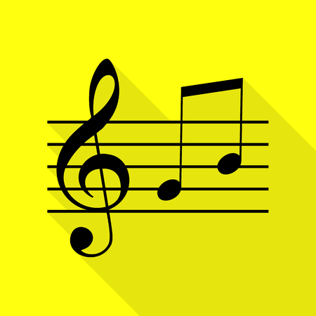 g clef: Music violin clef sign. G-clef and notes G, H. Black icon with flat style shadow path on yellow background. Illustration