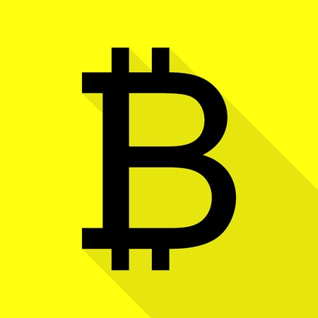 Bitcoin sign. Black icon with flat style shadow path on yellow background. Illustration
