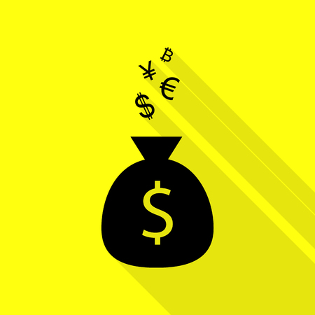 Money bag sign with currency symbols. Black icon with flat style shadow path on yellow background.