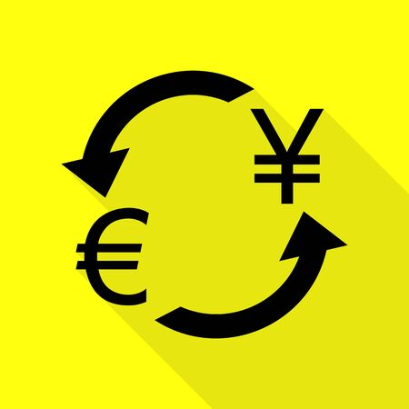 abstract recycle arrows: Currency exchange sign. Euro and Japan Yen. Black icon with flat style shadow path on yellow background.