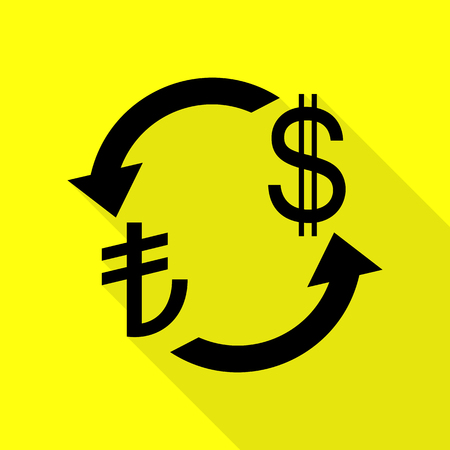 Currency exchange sign. Turkey Lira and US Dollar. Black icon with flat style shadow path on yellow background.