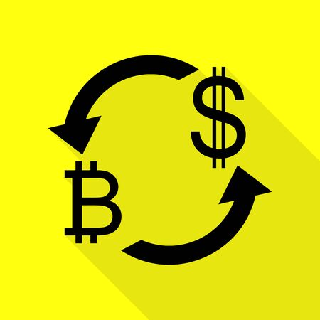 abstract recycle arrows: Currency exchange sign. Bitcoin and US Dollar. Black icon with flat style shadow path on yellow background.