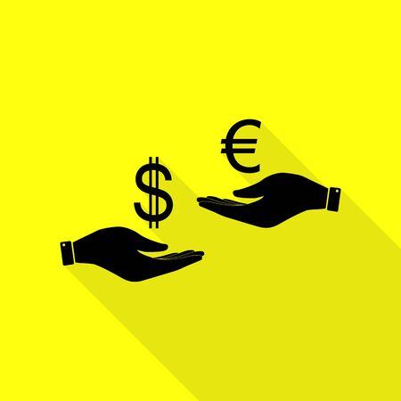 Valutawissel van hand tot hand. Dollar en Euro. Zwart pictogram met vlakke stijl schaduw pad op gele achtergrond.