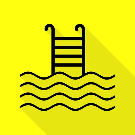 Swimming Pool sign. Black icon with flat style shadow path on yellow background. Illustration