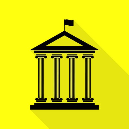 courthouse: Historical building with flag. Black icon with flat style shadow path on yellow background. Illustration