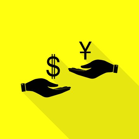 Currency exchange from hand to hand. Dollar and Yuan. Black icon with flat style shadow path on yellow background.