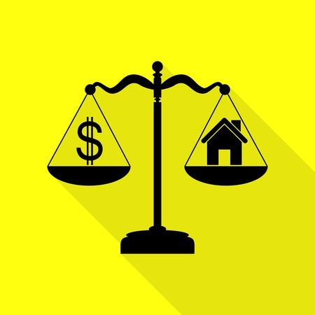 House and dollar symbol on scales. Black icon with flat style shadow path on yellow background. Illustration