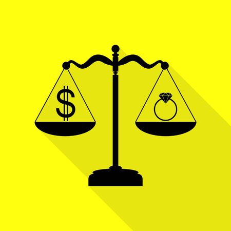 Ring jewelery and dollar symbol on scales. Black icon with flat style shadow path on yellow background.