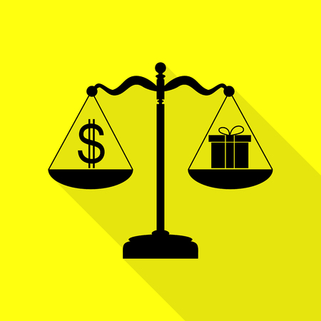 Gift and dollar symbol on scales. Black icon with flat style shadow path on yellow background.