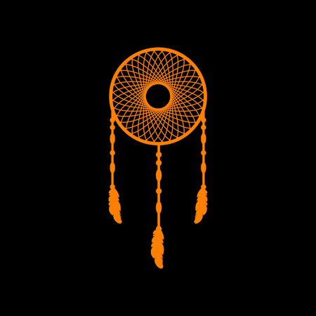 Dream catcher sign. Orange icon on black background. Old phosphor monitor. CRT. Imagens - 73034905