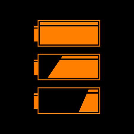 crt: Set of battery charge level indicators. Orange icon on black background. Old phosphor monitor. CRT.