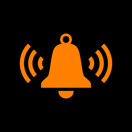 Ringing bell icon. Orange icon on black background. Old phosphor monitor. CRT. Ilustração