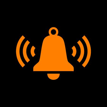 Ringing bell icon. Orange icon on black background. Old phosphor monitor. CRT. Illustration