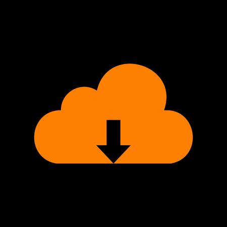 crt: Cloud technology sign. Orange icon on black background. Old phosphor monitor. CRT. Illustration