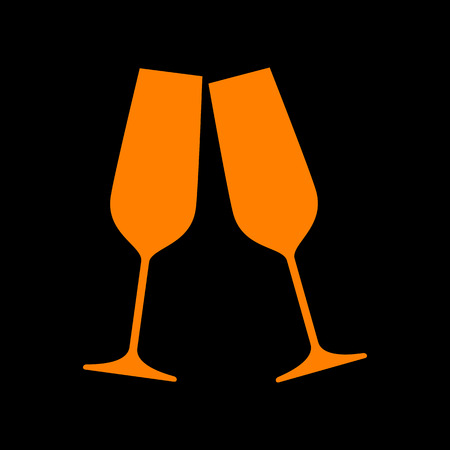 crt: Sparkling champagne glasses. Orange icon on black background. Old phosphor monitor. CRT. Illustration