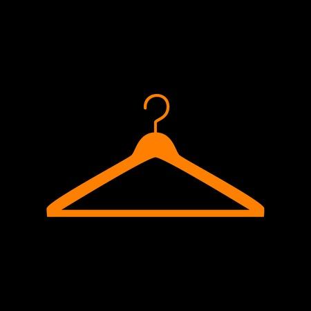 Hanger sign illustration. Orange icon on black background. Old phosphor monitor. CRT.