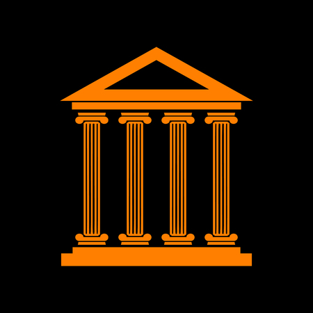 roman column: Historical building illustration. Orange icon on black background. Old phosphor monitor. CRT.