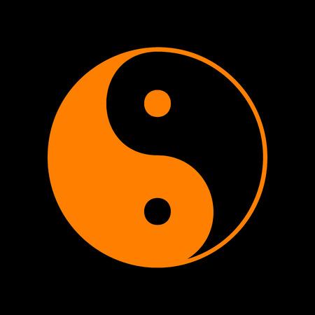 調和とバランスの英陽のシンボル。黒い背景にオレンジ色のアイコン。蛍光体の古いモニター。CRT。
