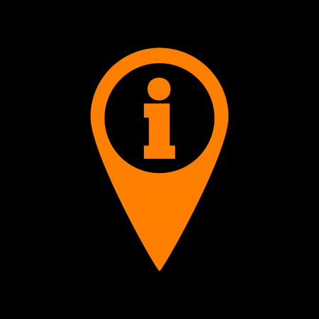 Map pointer with information sign. Orange icon on black background. Old phosphor monitor. CRT.