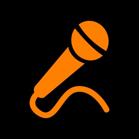 Microphone sign illustration. Orange icon on black background. Old phosphor monitor. CRT. Illustration