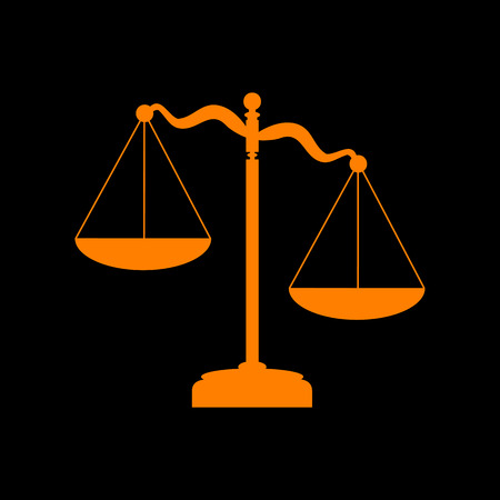 Scales of Justice sign. Orange icon on black background. Old phosphor monitor. CRT.