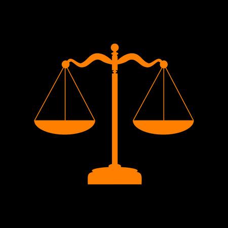 crt: Scales balance sign. Orange icon on black background. Old phosphor monitor. CRT.