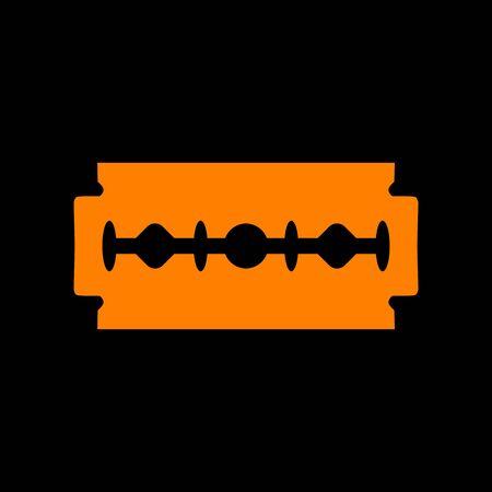 Razor blade sign. Orange icon on black background. Old phosphor monitor. CRT. Imagens - 73035471