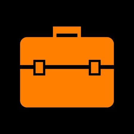 Briefcase sign illustration. Orange icon on black background. Old phosphor monitor. CRT.