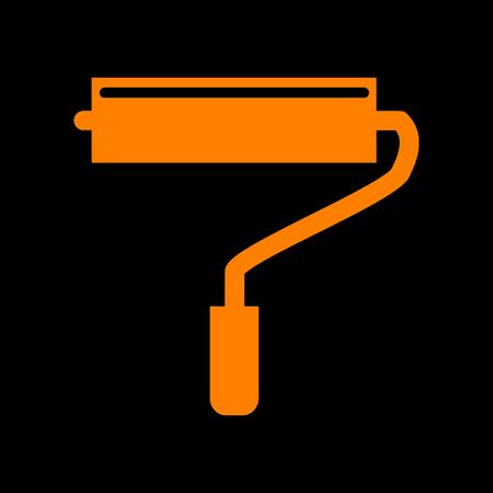 Roller sign illustration. Orange icon on black background. Old phosphor monitor. CRT.