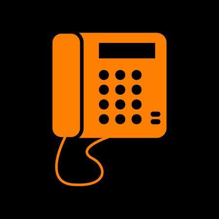 crt: Communication or phone sign. Orange icon on black background. Old phosphor monitor. CRT.