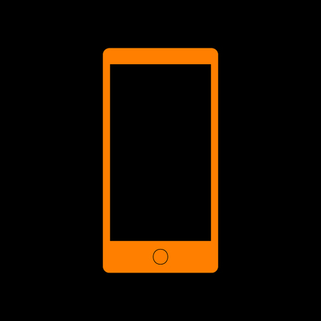 Abstract style modern gadget with blank screen. Template for any content. Orange icon on black background. Old phosphor monitor. CRT.