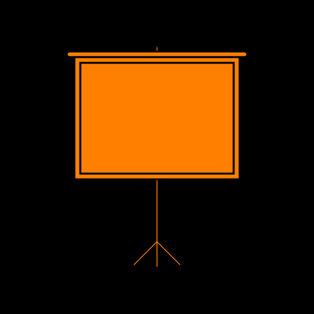 Blank Projection screen. Orange icon on black background. Old phosphor monitor. CRT. Imagens - 73035465