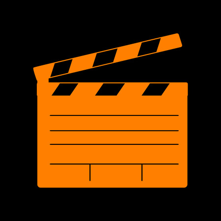 flick: Film clap board cinema sign. Orange icon on black background. Old phosphor monitor. CRT.