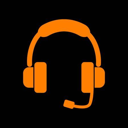 Support sign illustration. Orange icon on black background. Old phosphor monitor. CRT. Imagens - 73034990