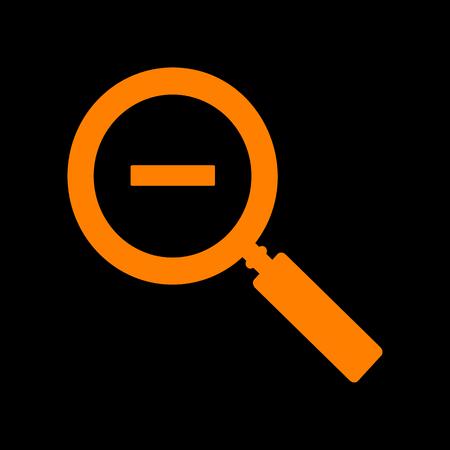 crt: Zoom sign illustration. Orange icon on black background. Old phosphor monitor. CRT.