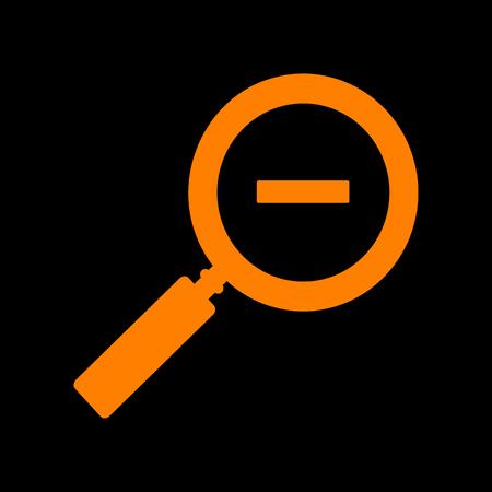 Zoom sign illustration. Orange icon on black background. Old phosphor monitor. CRT.