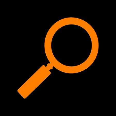Zoom sign illustration. Orange icon on black background. Old phosphor monitor. CRT. Imagens - 73034887