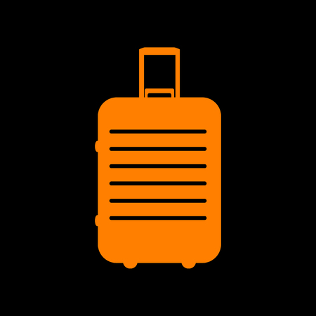 Baggage sign illustration. Orange icon on black background. Old phosphor monitor. CRT.