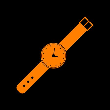 Watch sign illustration. Orange icon on black background. Old phosphor monitor. CRT. Illustration