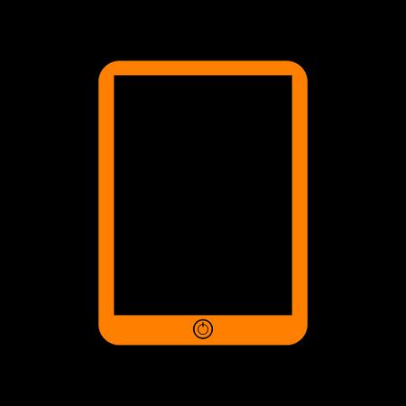 Computer tablet sign. Orange icon on black background. Old phosphor monitor. CRT. Illustration