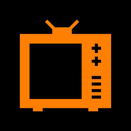 crt: TV sign illustration. Orange icon on black background. Old phosphor monitor. CRT.