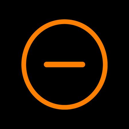 Negative symbol illustration. Minus sign. Orange icon on black background. Old phosphor monitor. CRT. Imagens - 73035462
