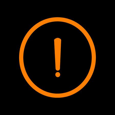 Exclamation mark sign. Orange icon on black background. Old phosphor monitor. CRT. Imagens - 73034383