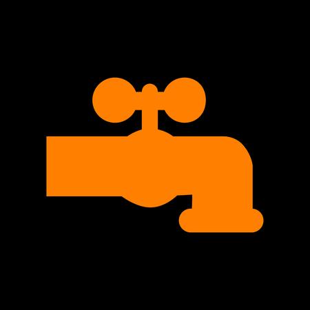 soak: Water faucet sign illustration. Orange icon on black background. Old phosphor monitor. CRT. Illustration
