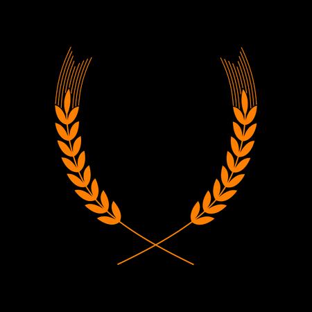 Wheat sign illustration. Spike. Spica. Orange icon on black background. Old phosphor monitor. CRT. Imagens - 73035287