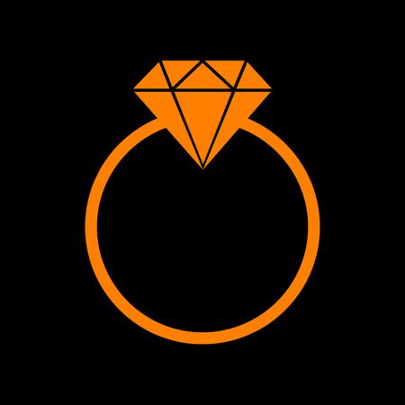 Diamond sign illustration. Orange icon on black background. Old phosphor monitor. CRT.