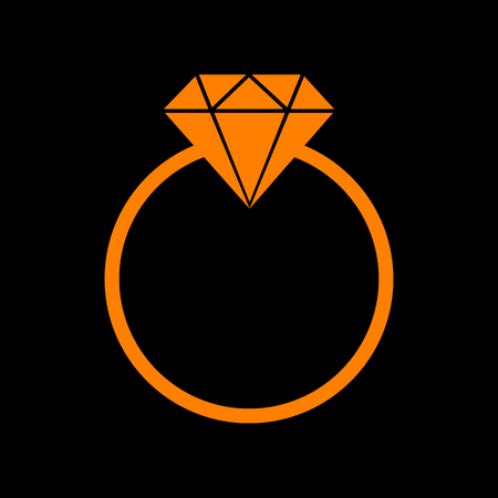 spoil: Diamond sign illustration. Orange icon on black background. Old phosphor monitor. CRT.