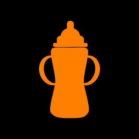 Baby bottle sign. Orange icon on black background. Old phosphor monitor. CRT. Ilustração