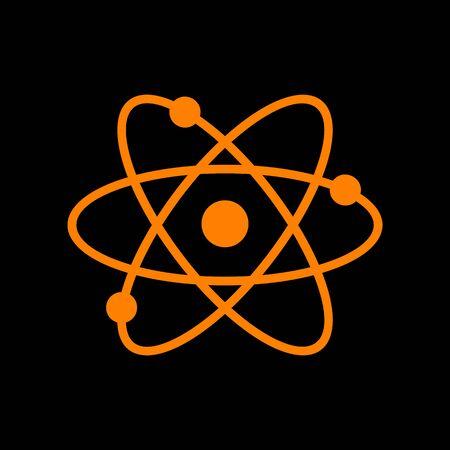 Atom sign illustration. Orange icon on black background. Old phosphor monitor. CRT.